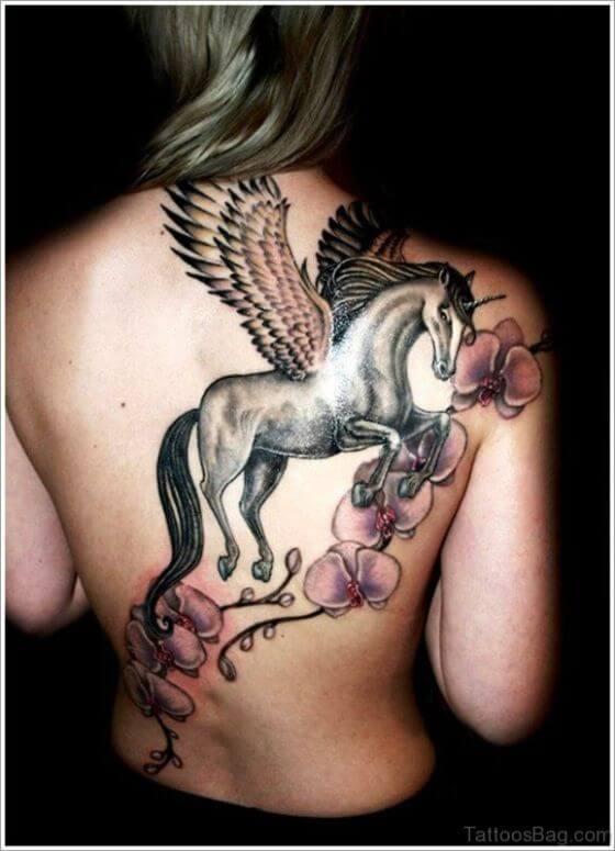 Best Full Unicorn tattoo on girl back