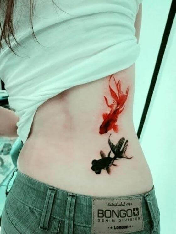 Cute Golden Fish Tattoo on Back