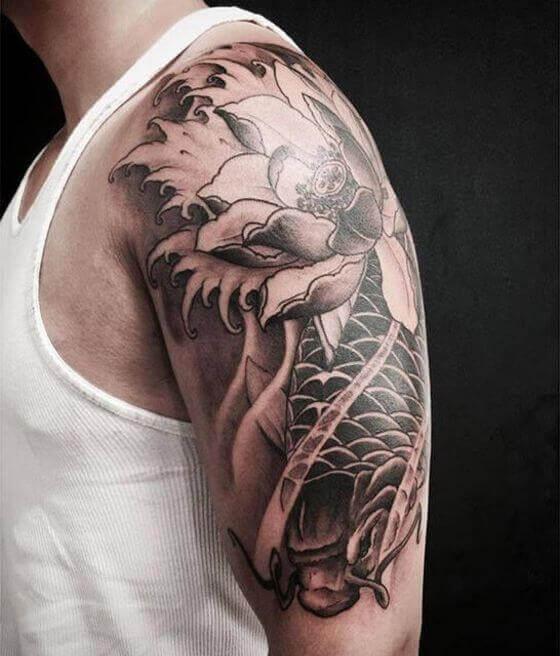 Half Sleeve Fish with Lotus Tattoo
