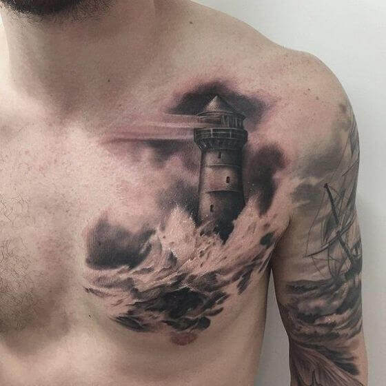 Lighthose chest tattoo man
