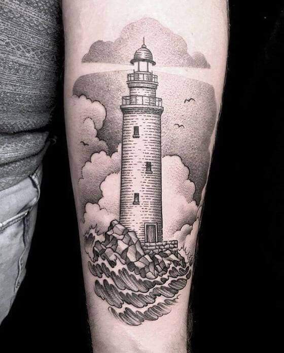 amazing- ighthouse sleeve tattoo designs