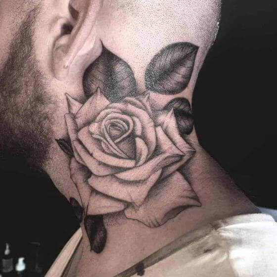 best blackwork rose neck tattoo
