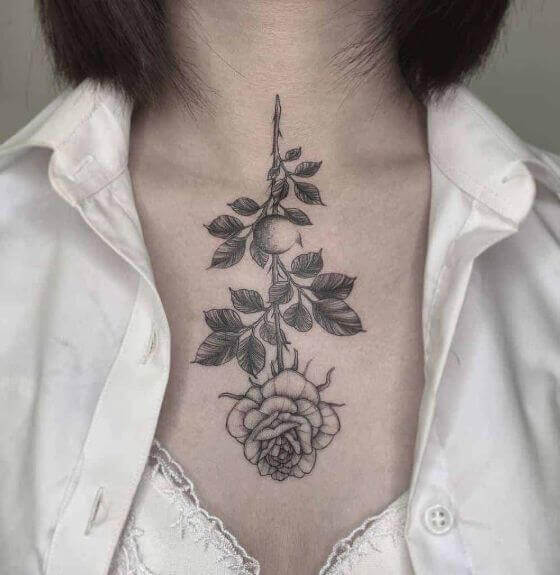 best chest rose with stem tattoo