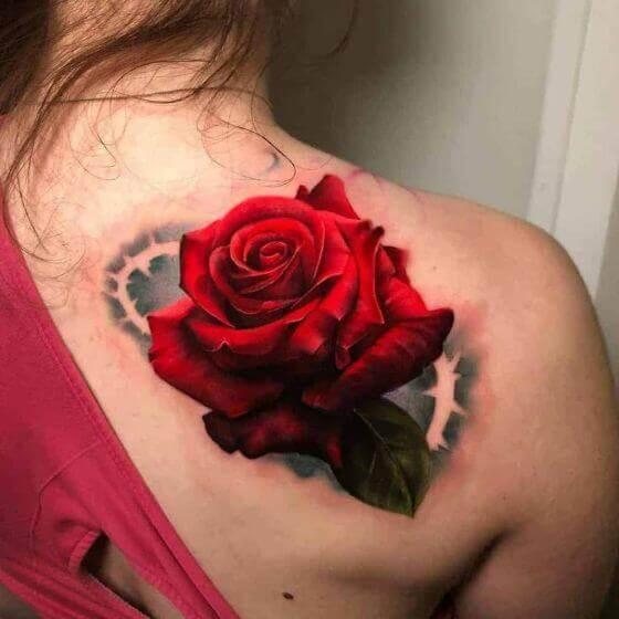 realistic rose shoulder tattoos on shoulder