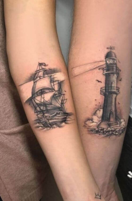 ship and lighthouse matching tattoo ideas