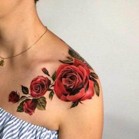 shoulder red rose tattoo girl