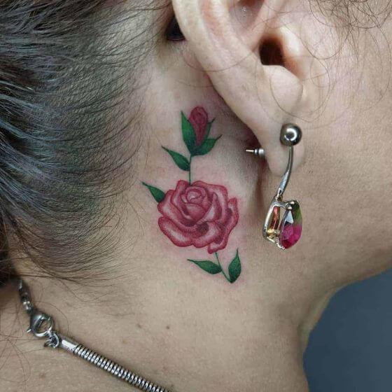 small minimalist rose neck tattoos