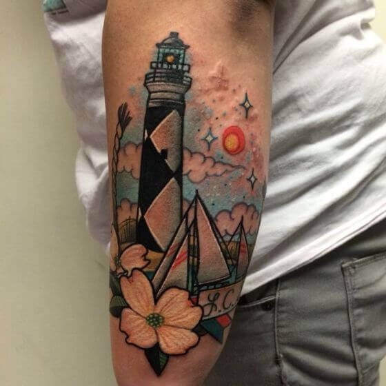 traditional lighthouse tattoo designs