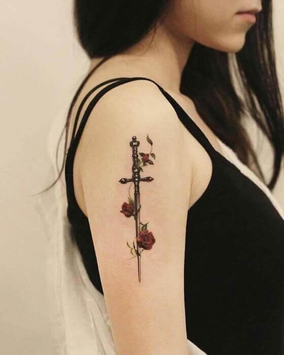 Female Sword shoulder tattoo designs