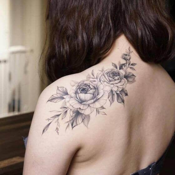 Flower Tattoos on female shoulder