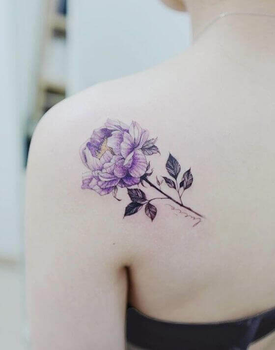 Girl shoulder Purple Floral Tattoo designs