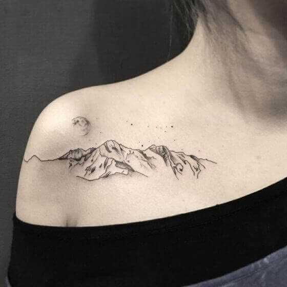 Landscape women shoulder Tattoo