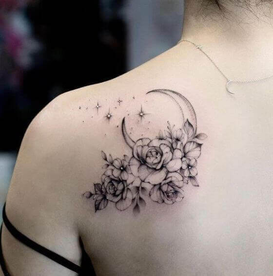 Unique Floral tattoo on shoulder
