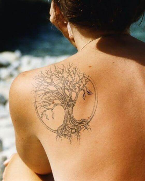 Wish Tree Tattoo on women shoulder