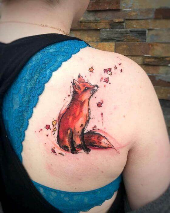female Fox shoulder Tattoo designs