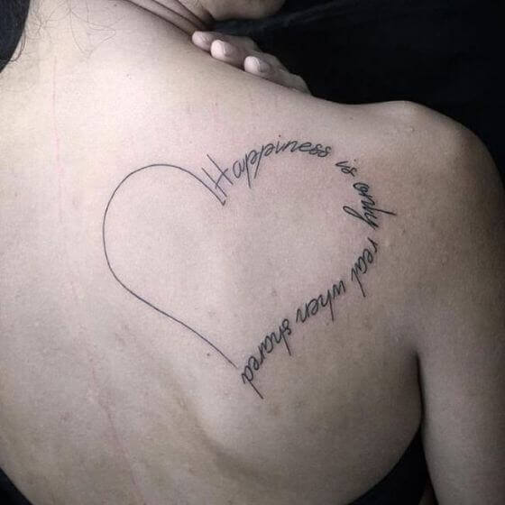 female Heart with Quote tattoo ideas
