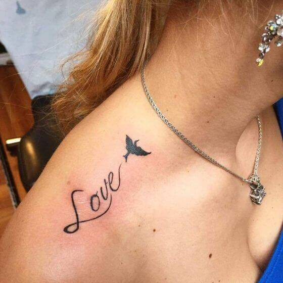 female love tattoo on soulder