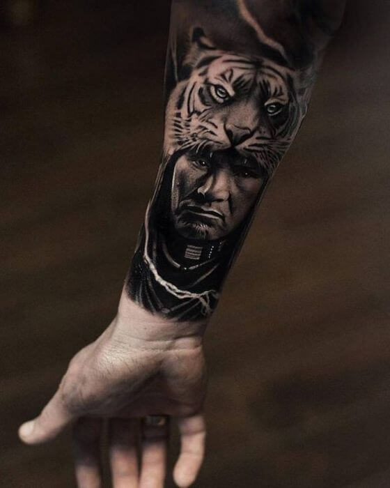 forearm tiger men tattoo
