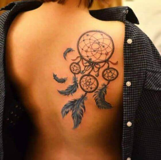 girl dream catcher tattoo designs on shoulder
