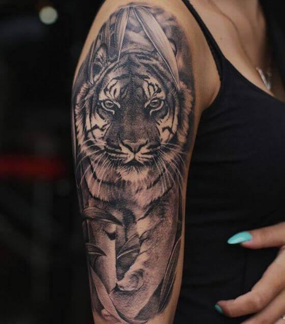 half sleeve tiger tattoo designs