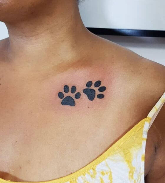 paw print tattoo women shoulder