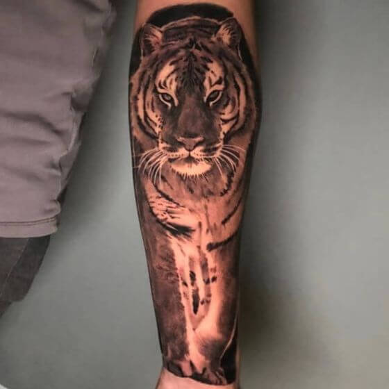 realistic tiger tattoo sleeve