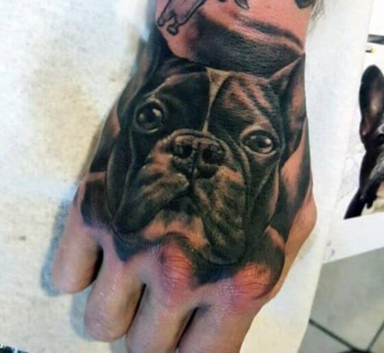 Dog Tattoo Portrait on Hand