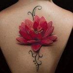 3d lotus flower tattoo on back