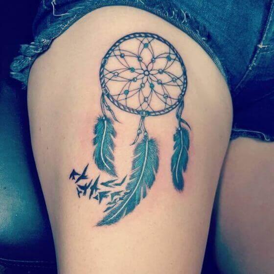 Best Dream Catcher Tattoo on Thigh