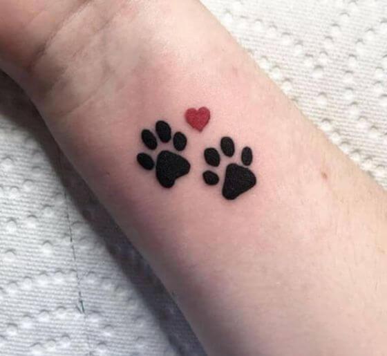 Best Heart Trail Paw Print Tattoo