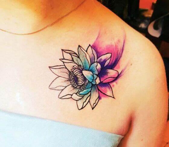 Best Watercolor Lotus Flower Tattoo