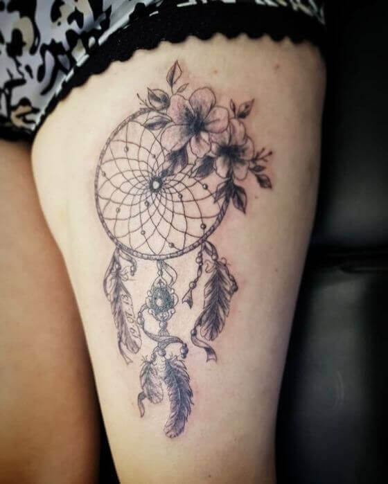 Best floral with dream catcher tattoo designs for women