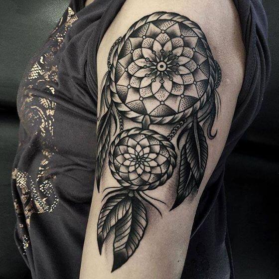 Black And Grey Dreamcatcher Tattoo