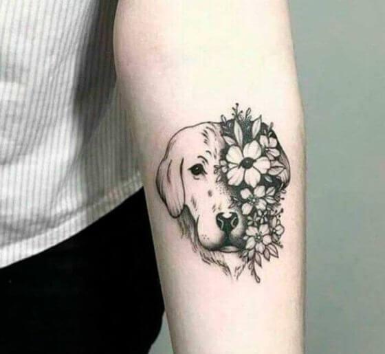 Dog & Flowers Memorial Tattoo ideas