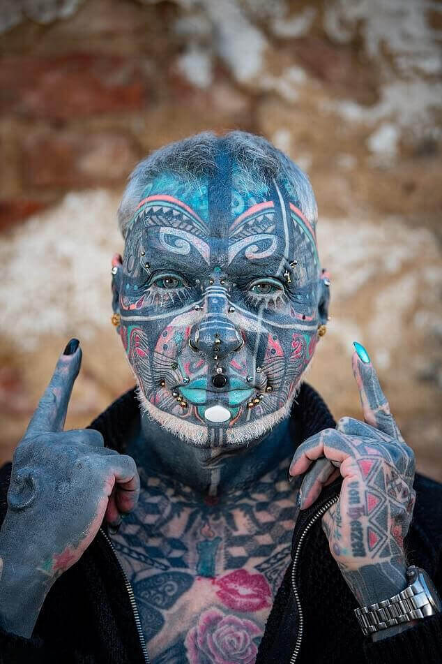 most tattooed man 72 years old Wolfgang Kirsch