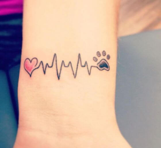 Infinity Paw Print Memorial Tattoo with Heart