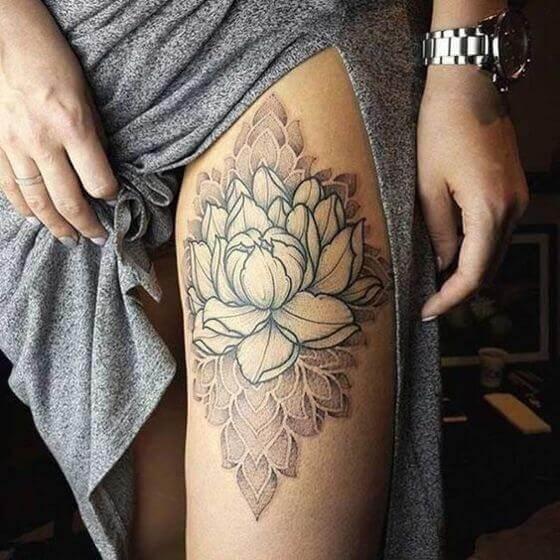 Lotus Flower Tattoo on women Thigh