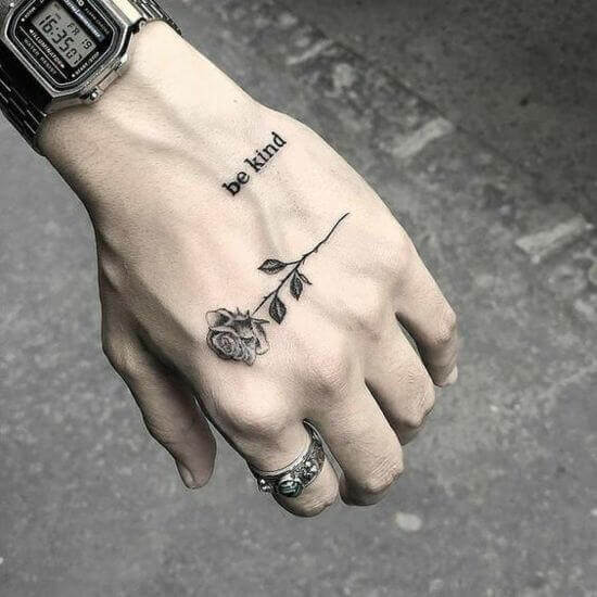 Small Rose Hand Tattoo ideas For Men