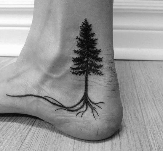 Small Tree tattoo on ankle