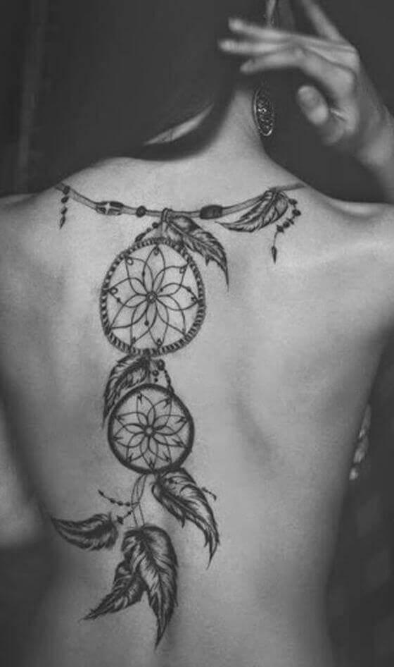 best Dream Catcher Spine Tattoo girl