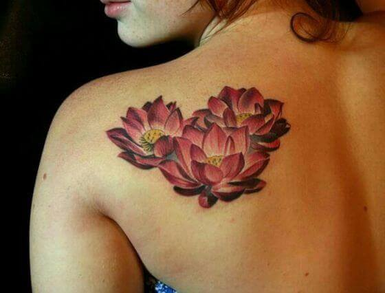 Red Lotus Tattoo on girl back