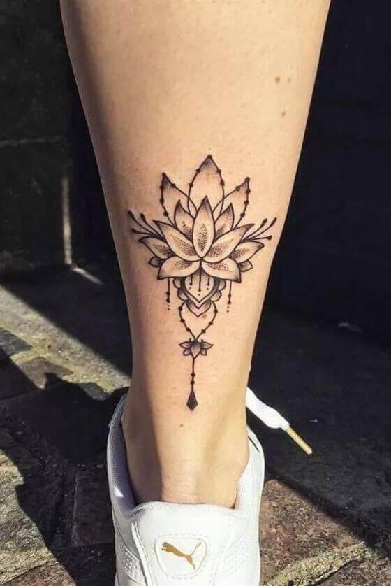 lotus tattoo on leg
