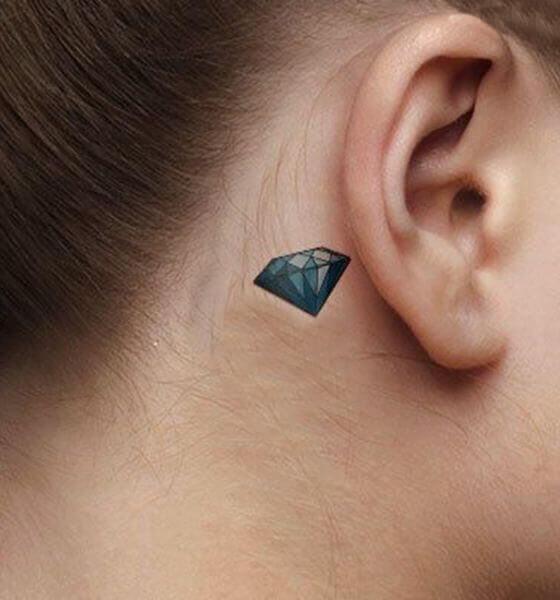 Behind the ear Diamond Tattoo ideas