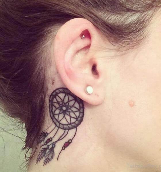 Best Dream Catcher Behind Ear Tattoos