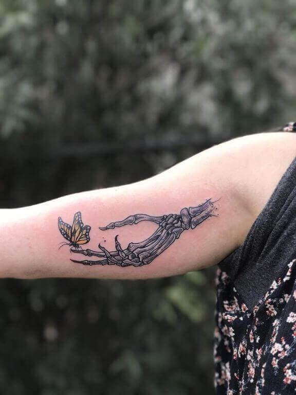 Forearm Skeleton Hand Tattoos (1)