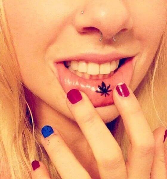 Leaf lips tattoo