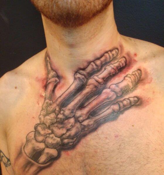 Neck Skeleton Hand Tattoo