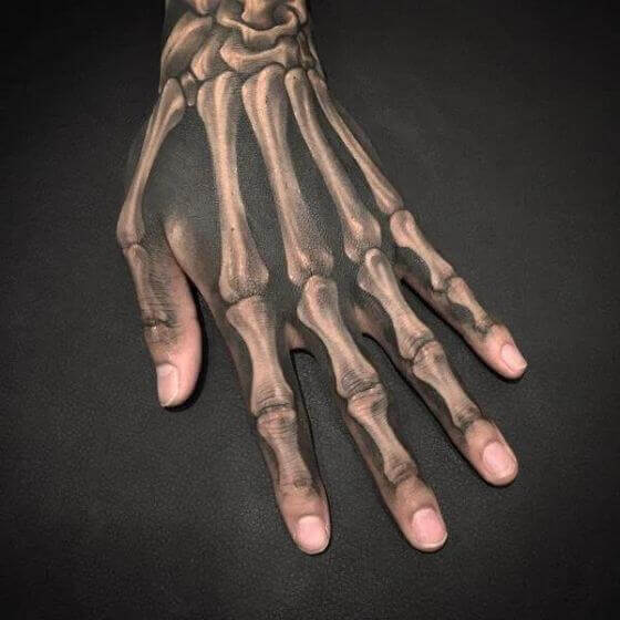 Skeleton Hand Tattoos on Hand
