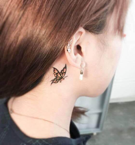 butterfly Ear Tattoo on behind the ear
