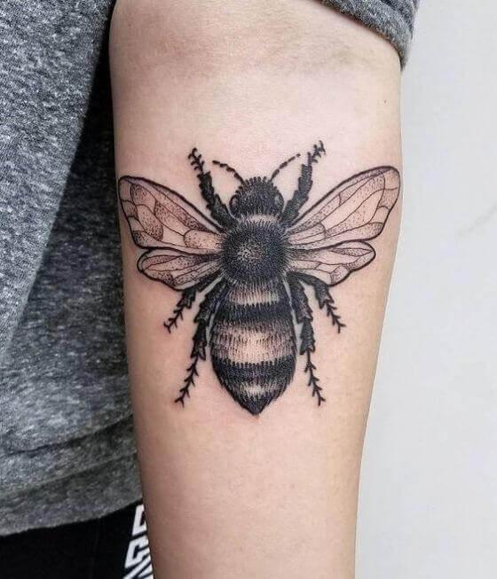 Black Honey Bee Tattoos designs on men forearm